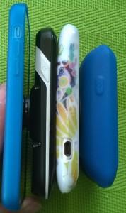 Porównanie grubości : iPhone 5, Edge 1000, HTC Desire, Edge 810.