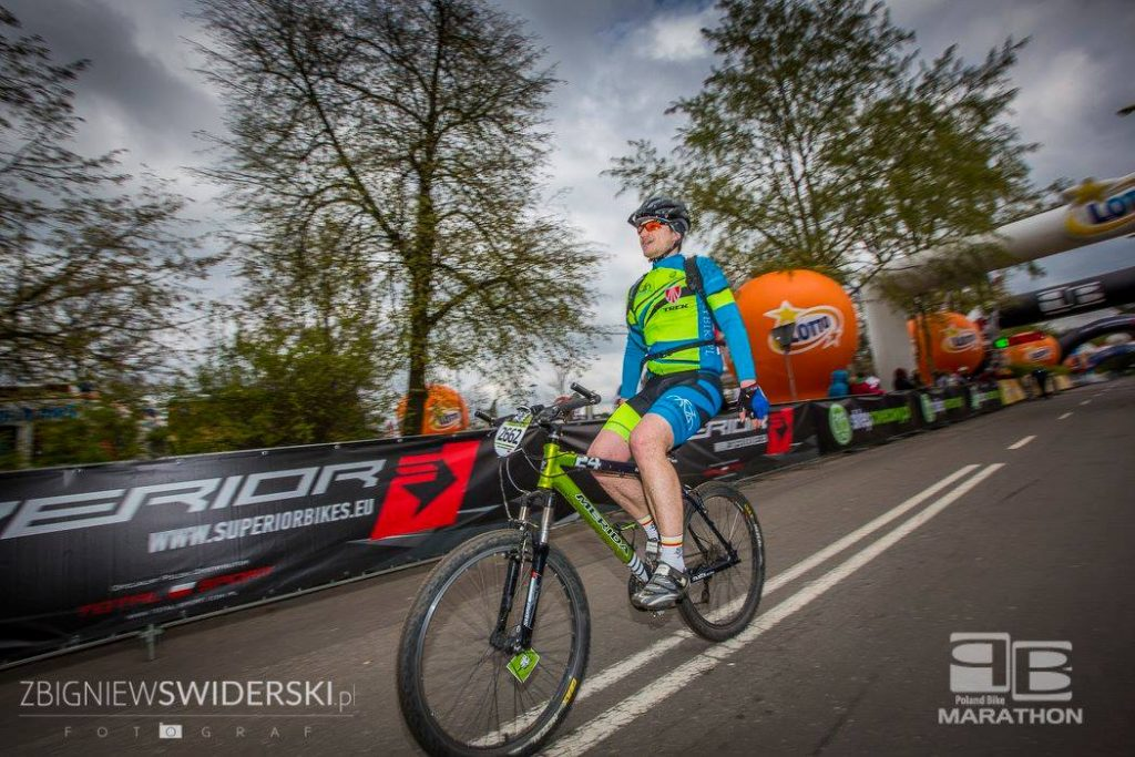 Maciej Demiańczuk na mecie Poland Bike Marathon Legionowo